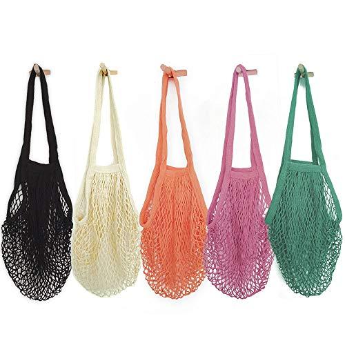 HotShine Mesh Bags Reusable Cotton Mesh Grocery Bags - 100% Cotton | Net Cotton String | Shopping Bag – Eco Market Bag - Tote Bag Vegetable - Pack of 5 Portable/Reusable/Washable