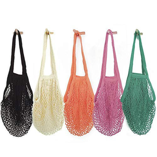 Hotshine Pack of 5 Portable/Reusable/Washable Cotton Mesh String Organic Organizer Shopping Handbag Long Handle Net Tote Grey Blue/Black/Beige/Orange/Purple