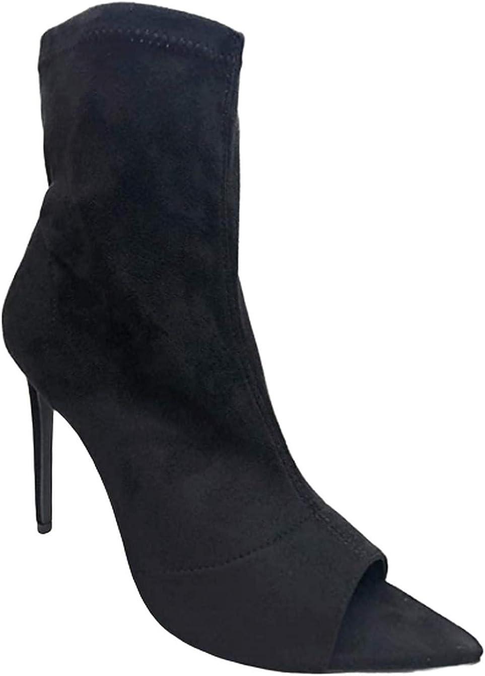 Women's Pointy Peep Toe Stiletto Mid Calf Wrap Stilletto Heel Side Zipper Fastener Bootie