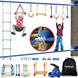 50FT X 2 Ninja Warrior Obstacle Course for Kids - Ninja Line Slackline with 8 Obstacles Rope Ladder, Gymnastic Rings, Monkey Bars, Fists, Ninja Course for Kids Outside Backyard