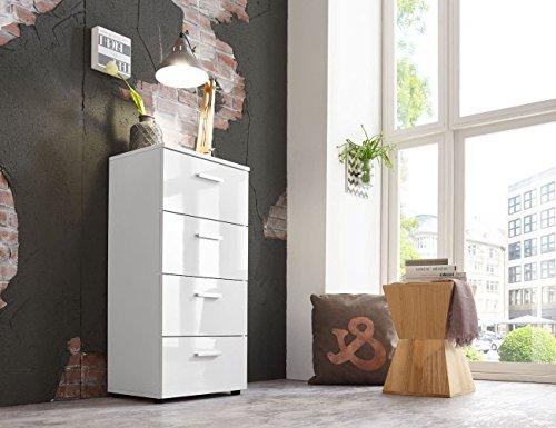Schubladen Kommode Sideboard Anrichte Mehrzweckschrank Highboard Schrank MALAGA 5 mit 4 Schubkästen in hochglanz weiß