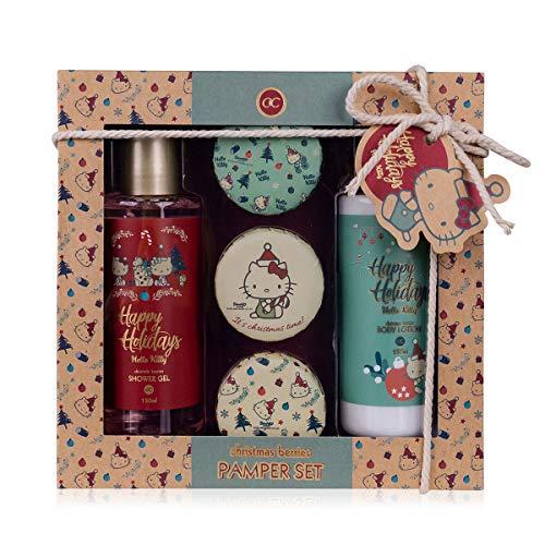 accentra Geschenkset Hello Kitty - Winter Christmas für Mädchen, Schönes Set im Christmas Berries Duft, 5-teilige Geschenkidee verpackt in einer tollen Geschenkverpackung aus Kraftpapier