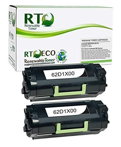 Renewable Toner Compatible Toner Cartridge High Yield Replacement for Lexmark 621X 62D1X00 MX711 MX810 MX811 MX812 (Black, 2-Pack)