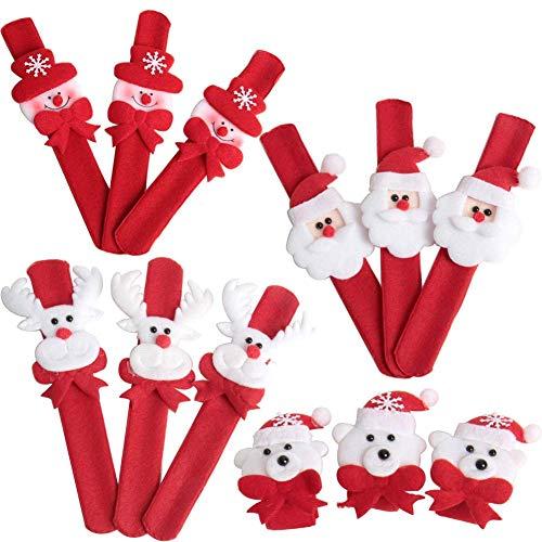 Dusenly 12pcs Pulsera de Pulsera de Navidad Bofetada Papá Noel Muñeco de Nieve Muñequeras Rellenos de Bolsa Bandas a presión Fiesta de Navidad Favores Regalos para niños