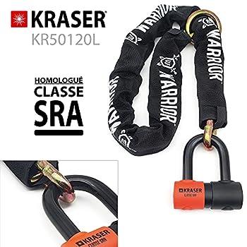 KRASER KR50120L Antivol Approuvé par SRA Cadenas Moto Bloque Disque Mini U Solide Ø18 + Chaîne Sécurité 120cm 13.5mm Système de Boucle Lourde, Noir, 120 cm Lien