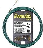 Anguila 35030021 Guía pasacables Fibra de Vidrio Reforzada + Nylon, Verde, 21 Metros