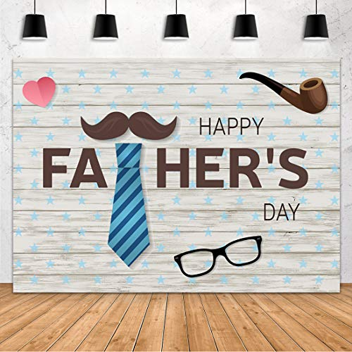 RBQOKJ 10x10ft Happy Fathers Day Backdrop Bow Tie Gifts Decor Wooden Background for Celebrate Fathers Party Photography Backdrops Prop Shoot Studio