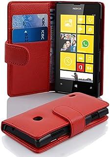 Fodral kompatibelt med Nokia Lumia 520 i INFERNO RÖD - Skyddsfodral av strukturerat syntetiskt Läder med Stativfunktion oc...