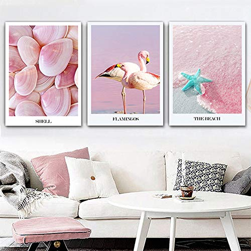 Lunderliny Canvas Printings Shell Beach Artistic Canvas Painting Nordic Poster Wall Pictures For Living Room Home Decoration Posters And Prints D