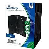 MediaRange BOX35-6 -Estuches de 6 ranuras para CD, DVD y Blu Ray con bolsillo de cubierta transparente, 22 mm, negro, paquete de 5