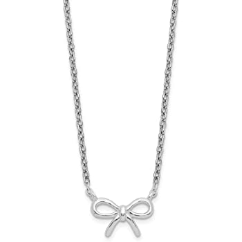 925 Sterling Silver Bow Pendant Charm Necklace Fine Jewelry Gifts For Women For Her