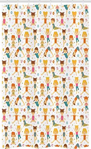 ABAKUHAUS Sport Douchegordijn, Meisjes Die Yoga, voor Douchecabine Stoffen Badkamer Decoratie Set met Ophangringen, 120 x 180 cm, Veelkleurig