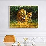 QWESFX Tierölgemälde auf Leinwand Wandkunst Poster und Drucke Abstrakte Löwenpaar Bilder für Wohnzimmer Schlafzimmer Dekor B 40x80cm