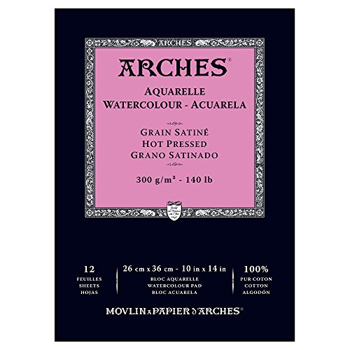 Arches Watercolor Paper Pad, 140 pound, Hot Press, 10'x14' (1795098)