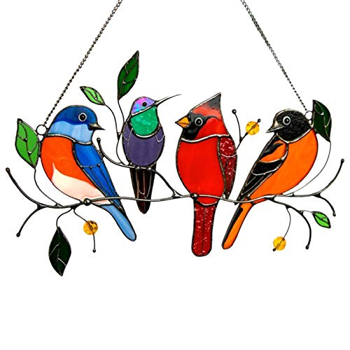 xueren Mehrfarbige Vögel auf einem Draht, Glasvögel, Ornamente zum Aufhängen, für dekorative Fenster, Buntglas-Sonnenfänger