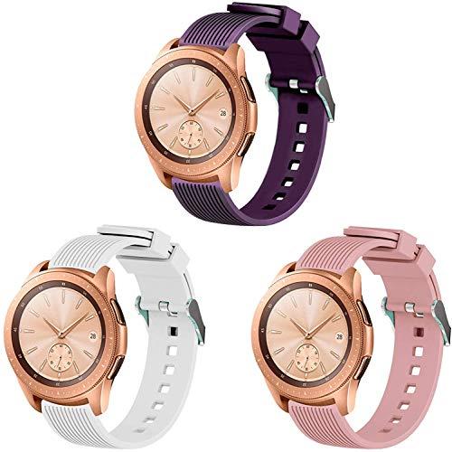 Gransho Uhrenarmband 20mm, Premium Weiches Silikon Verstellbarer Ersatzgurt (20mm, Weiß + Lila)