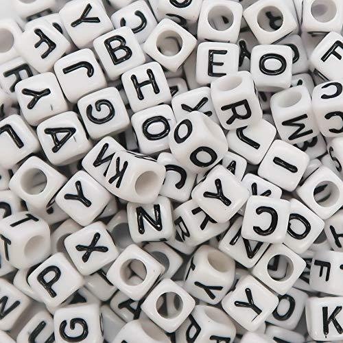 TOAOB 1000pcs 6mm Blanc Plastique Acrylique Perles Lettre Alphabet de A à Z Cubes Enfilage Facile pour Le Bricolage Fabrication de Bracelets Colliers Bijoux