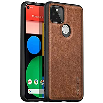 Latagui Compatible with Google Pixel 5 Case [Drop-Proof Protection] [Anti-Slip Surface] Soft and Slim Full Cover Leather Case for Google Pixel 5  Brown