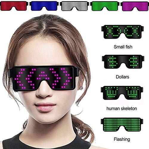 LED Gläser, Glow-Party Favor mit LED-Display, USB-Lade Gläsern Wiederaufladbare, 8 Muster Optional Brille for Diskothek, Weihnachten, Geburtstag Partyangebot (Farbe: blau) fhgt (Color : Red)