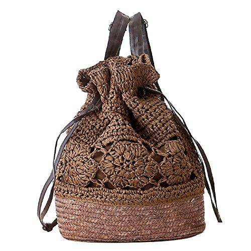 FAIRYSAN Häkeln Umhängetaschen Woven Handtasche Straw Rucksack mit Lederriemen Dunkelbraun