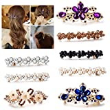 Minimalism CZ White Pearl Hair Clips Decorative Champagne brown CZ Crystal Hair Barrettes Bridal Hair Pins Bridal Hair Clip Handmade Hair Accessories for Teens Girls Women with Hair Styling (Mix)
