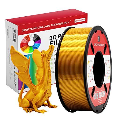 PLA Dorada Seda Filamento de Impresión 3D 1.75mm Materiales Precisión +/- 0.02 mm 1kg/un carrete