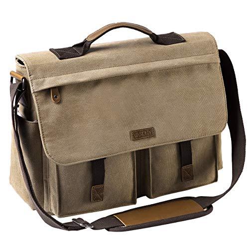 VASCHY Umhängetaschen Herren, Vintage Wasserabweisend Gewachste Leinwand 15.6 Zoll Laptop Aktentasche Schultertasche Laptop-Taschen mit Gepolstertem Schultergurt(Khaki)
