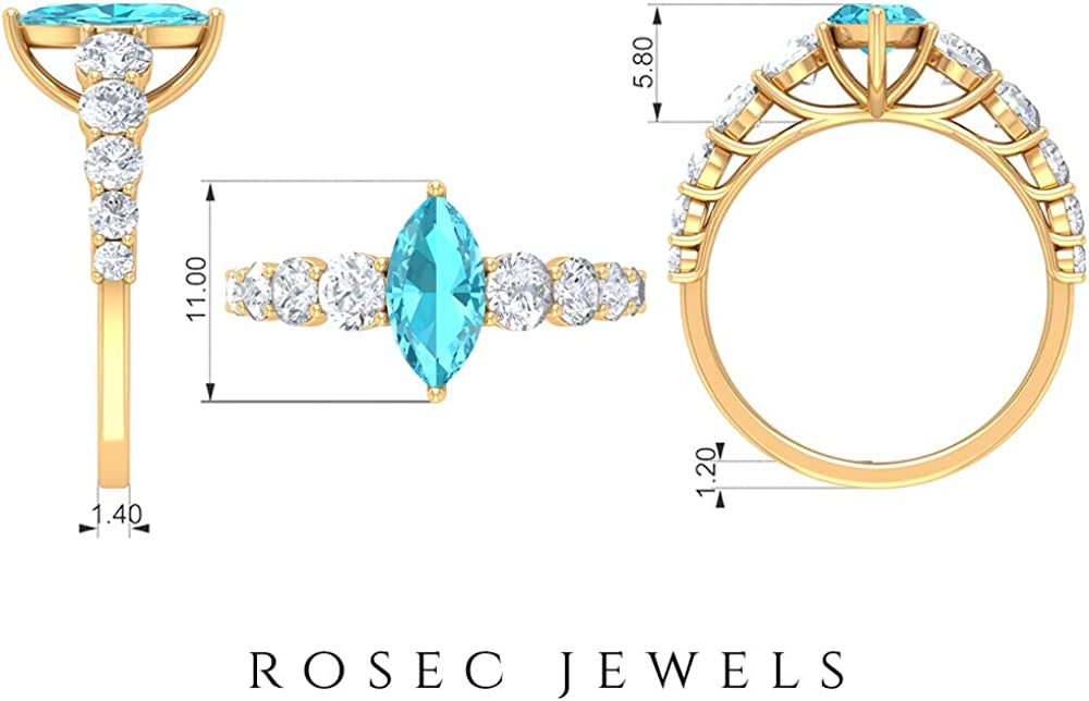 2.25 CT Swiss Blue Topaz Solitaire Ring with Moissanite Side Stones, Engagement Ring (5X10 MM Marquise Cut Swiss Blue Topaz), 14K Gold
