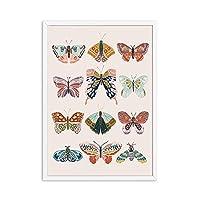 Xuetaozz ヴィンテージバタフライウォールアートキャンバスポスター自由奔放に生きるプリント昆虫保育園装飾絵絵画動物現代の女の子の部屋の装飾-40x60cmフレームなし