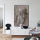 Pintura decorativa Pintura al óleo de autorretrato de Durero, el padre del autorretrato, cuadro artístico de pared, lienzo, pintura, póster Retro para decoración del hogar 50x70cm