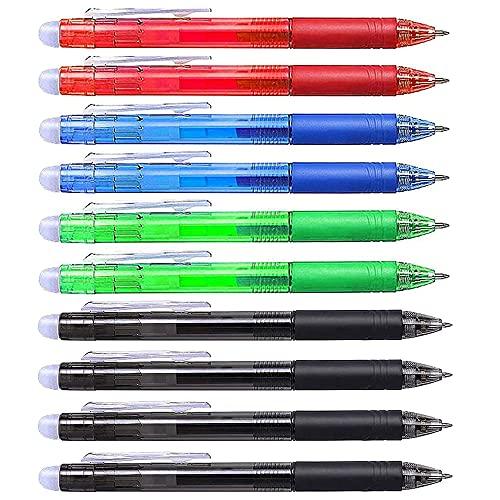 MOPOIN Radierbarer Kugelschreiber, 10 Stück Radierstift Gelstifte mit Radiergummi 0.5 MM Gelschreiber Einziehbar für Schule Büro Kinder (Schwarz + Blau + Grün + Rot)