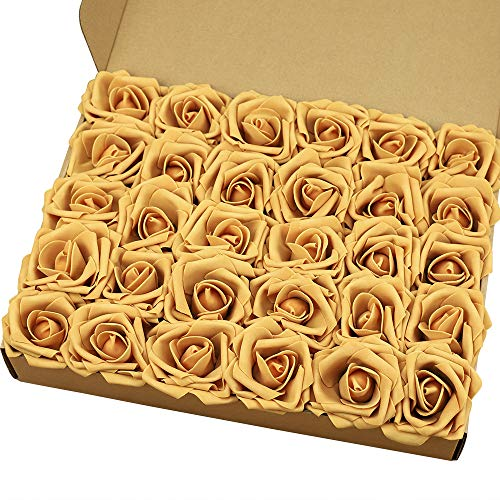 MACTING Artificial Flower Rose, 30pcs Real Touch Artificial Roses for DIY Bouquets Wedding Party Baby Shower Home Decor(Gold Yellow)