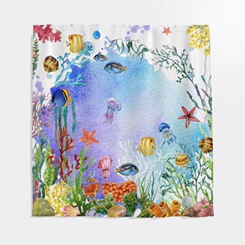 Rideau de douche anti-moisissure poisson algues aquarelle imperméable en polyester salle de bain avec crochets, Weiß, 150 x 200 cm