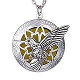 VAWAA Exquisito Colibrí Difusor de Aromaterapia Colgante Medallones de Aceite Esencial Collar Joyería Collar Largo + Bolsa de Regalo Vintage
