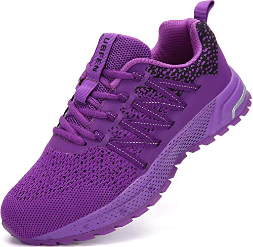 UBFEN Running Shoes for Mens Womens Sports Shoes Casual Footwear Walking Fitness Jogging Athletic Indoor Outdoor Fashion Sneakers 10.5 Women/8.5 Men C Purple