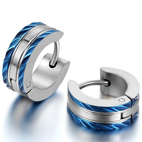 JewelryWe Schmuck Herren-Ohrringe, Edelstahl Creolen Gestüt Ohrstecker, Blau Silber