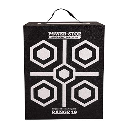 POWER-STOP American Excelsior Archery Target - 3D Compound Bow and Crossbow Targets - 19' High-Density Foam 350fps Target Block for Broadheads and Field Tips