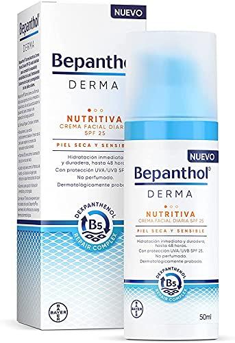 Bepanthol Derma Nutritiva Crema Facial Hidratante de Día con SPF25, Piel Seca y Sensible, 50 ml