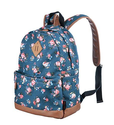 Gezu Rucksäcke Damen Schulrucksack UniTasche Vintage Rucksack und Kinderrucksäcke GZ00133 (Blaue Blumen)