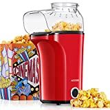 Machine à Pop Corn, AICOOK 1400W Retro Popcorn Machine, 16Cups Grande Capacité, Air Chaud Sans Gras Huile, Sans BPA, Rouge