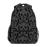 Adult Backpack,Scrollwork Skulls College School Book Bag Wedding Travel Daypack 40cm(H) x29cm(W)