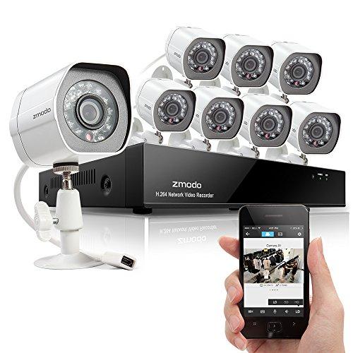 Zmodo HD-Sicherheitskamera-System mit 8 Indoor/Outdoor Nachtsicht Überwachungskameras, 8CH 720P PoE NVR, QR-Code scannen Schnell Remote View NO HDD, ZM-SS718