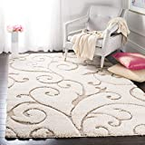 SAFAVIEH Florida Shag Collection SG455 Scrolling Vine Graceful Swirl Textured Non-Shedding Living Room Bedroom Dining Room Entryway Plush 1.2-inch Thick Area Rug, 3'3' x 5'3', Cream / Beige