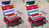 Tommy Bahama 2 2015 Backpack Cooler Chairs with Storage Pouch and Towel Bar- red/Blue
