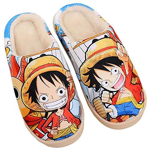 LXDslippers Winter Frau Men japanischen Anime One Piece Sieben Perlen rund umdie Heimat Warm Schlupf Freizeit Innen Plüsch Hausschuhe One, Piece, 1, (Femelle42,44 Mâle41,43.5) EU 290