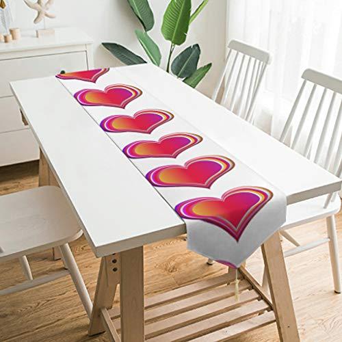 WOSITON Camino de mesa con forma de corazón hinchado, estilo nórdico, camino de mesa para sala de estar de 79 x 13 pulgadas, el mejor regalo para el año nuevo a los amantes de color blanco 229 x 33 cm