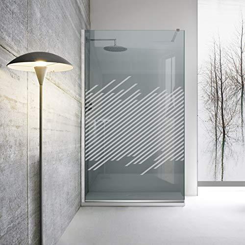Modern Glass Art Leroy - Mampara de ducha (8 mm, acero inoxidable), color gris, blanco