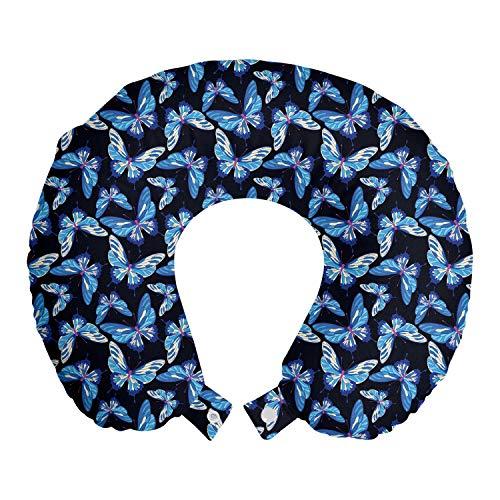 ABAKUHAUS Vlinder Reiskussen, Herhaalde Vliegen ontwerp, Reisaccessoire met Geheugenschuim voor Vliegtuig en Auto, 30 cm x 30 cm, Blue Multicolor