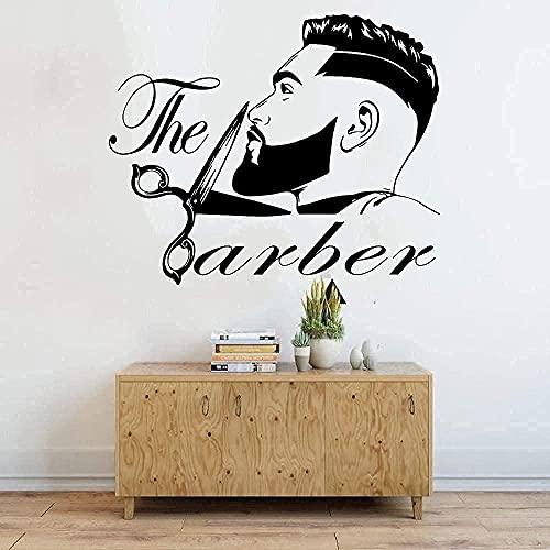 Etiqueta De La Pared Etiqueta Engomada Del Corte De Pelo De Los Hombres Barba Peinado Salón Ventana Etiqueta De La Pared Moda Peluquero Peluquero Tijeras Etiqueta De La Pared Papel Pintado 68X56Cm