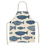 suxiaopei Neue kreative Fischschürze aus Baumwolle und Leinen mit Antifouling- und ölbeständiger, ärmelloser Schürze 47x38cm WQL0020-8